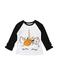 幼童小女孩感恩节衬衫长袖独角兽荷叶边衬衫上衣棒球衫