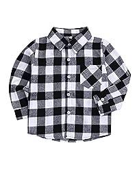幼儿男婴女孩衣服绅士服装红色格子法兰绒正装衬衫带系扣儿童服装 1-6T Grey-y 5-6T