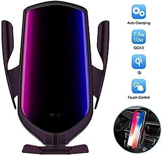 无线车载充电器支架,HUOTO 自动夹紧 Qi 10W 7.5W 快速充电车载手机支架,通风口手机支架兼容 iPhone 11 Pro Max Xs X 8,Samsung S10 S9 Note10 紫色