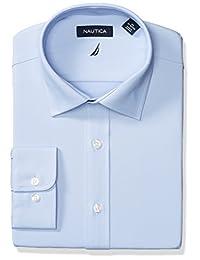 Nautica 男士免烫技术经典款宽角领纯色衬衫