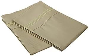 Luxor Treasures 超柔软轻质,* 磨毛超细纤维,防皱,2 件枕套套装,带两线刺绣细节 淡紫色(Sage) 标准 MF3000SDPC 2LSG