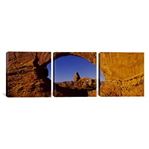 "iCanvasART 美国犹他州,景观上的自然拱门国家公园,Panoramic Images 油画艺术印刷品,152.4 x 50.8 厘米 48"" x 16"" 48x163xPIM377"