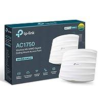 TP-Link AC1750 Wi-Fi 雙頻千兆天花板安裝接入點,MU-MIMO,支持 802.3af/at/被動PoE,輕松安裝到墻壁或天花板,免費 EAP 控制器軟件(EAP245),白色