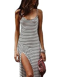 lukycild 女式无袖细肩带条纹印花夏日海滩派对侧开叉连衣裙