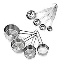 New Star Foodservice 42917不锈钢量匙和杯子组合,八件套,银色