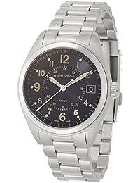 """Hamilton 男式""""Khaki Field""""瑞士石英不锈钢休闲手表,颜色:银色调(型号:H68551133)"""