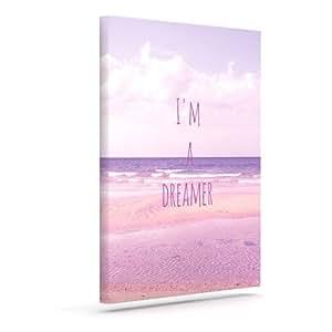 "Kess InHouse Iris Lehnhardt""I'm a Dreamer"" 海滩粉色户外帆布墙壁艺术 16"" x 20"" 粉红色 IL2012AAC03"