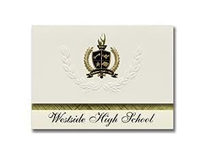 标志性公告 Westside 高中(Omaha, NE)毕业公告,总统风格,25 片精英包装带金色和黑色金属箔封条