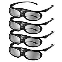 Elikliv JX60 3D眼鏡 可充電藍牙3D主動式快門眼鏡 兼容愛普生 3D投影機 TDG-BT500A TDG-BT400A TY-ER3D5MA TY-ER3D4MA,索尼,松下 三星3D電視(4件裝)