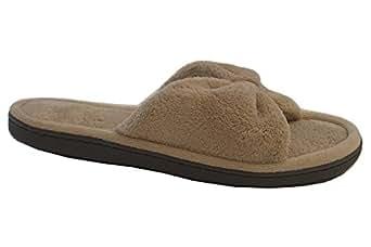 Isotoner 女士 Microterry 蝴蝶结露趾拖鞋 Sandtrap 9.5-10 B(M) US