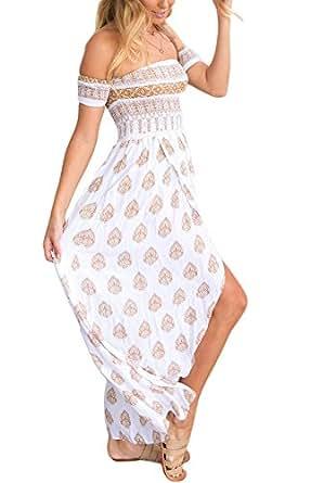 Foyean 女式性感高分叉露肩花卉袖波西米亚长连衣裙.