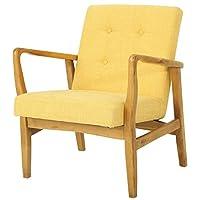 百伽 现代简约北欧沙发椅客厅实木单人日式布艺沙发59982 黄色(亚马逊自营商品, 由供应商配送)