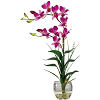 Nearly Natural 1135-PP Dendrobium with Glass Vase Silk Flower Arrangement, Purple