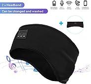 Manfiter Sleep 耳机,运动*头带 2 合 1 运动吸汗带无线蓝牙 V5.0 降噪头带耳机,带超薄高清立体声扬声器,适合慢跑、瑜伽、侧睡者
