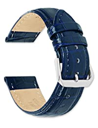 鳄鱼纹皮革表带/表带 - *蓝(长)24mm