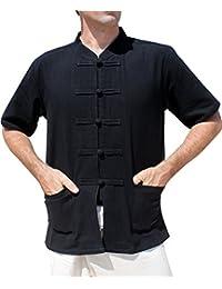 RaanPahMuang 品牌 加厚棉 中国短袖 中号 黑色