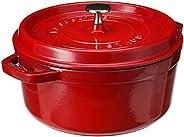 Staub 珐宝 珐琅圆形铸铁炖锅,4夸脱 约3.8升 直径24厘米 樱桃色
