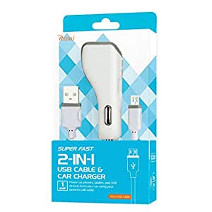 Reiko 超快 2 合 1 USB 电缆和车载充电器适用于摩托罗拉 - 零售包装 - 白色