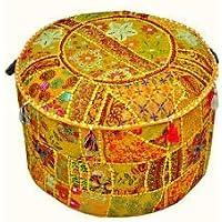 Marubhumi 印*安 Pouf Stool 复古拼接装饰客厅软垫套,58.42 X 33.02 厘米,仅枕套,不含填充物