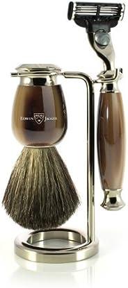 Edwin Jagger 仿牛角镀镍剃须套装,纯獾的剃须毛,吉列锋速3 刀头,镀镍架子,1套(1x 1件) 棕色/乳白色