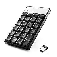 数字板,WADEO USB 数字键盘,带全尺寸 23 键 2.4GHz 无线数字键盘,适用于 MAC OS X,Windows XP,Vista,7,8,10 2000 带 USB 端口