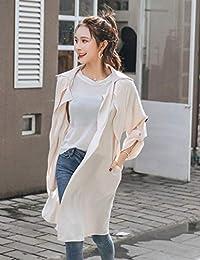 Goralon 2018秋季新款韩版少女学院风休闲女装宽松翻领中长款风衣外套潮