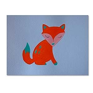 """Trademark Fine Art Orange Fox by Nicole Dietz Hanging Art Piece, 18""""x24"""""""