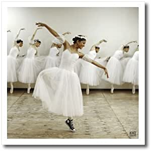 3dRose ht_10015_3 Happy Ballet Dancer with a Romantic Dress-Iron on Heat Transfer for White Material, 10 by 10-Inch