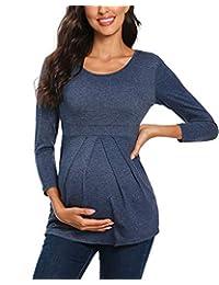 Glampunch 女式孕妇长袖针织毛衣喇叭袖束腰上衣