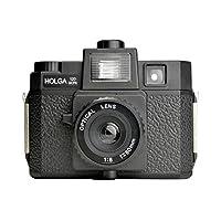 HOLGA 塑料中号摄像机,带内置闪光和玻璃镜头296120 Black w/Flash