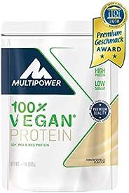 Multipower 100% Vegan Protein French Vanilla – 450 g Eiwei?pulver – Veganes Pulver für Eiwei?shake aus 3 pflan
