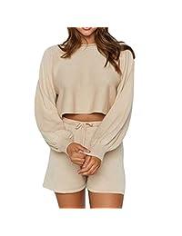 女式长袖露脐毛衣上衣带抽绳短裤纯色两件套