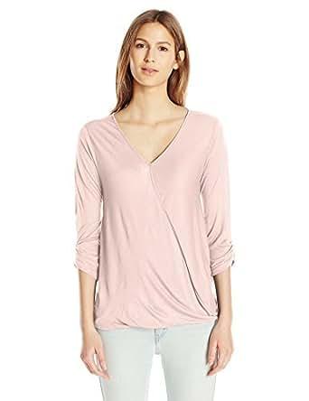 纸张 + T 恤女式 V 领褶皱上衣 腮红 X-Large