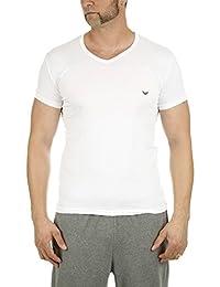 EMPORIO ARMANI 安普里奥·阿玛尼 男士针织V领T恤 2件装 白/深蓝