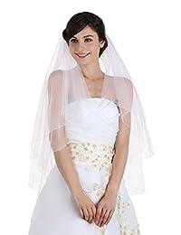 2T 2 层亮片串珠边缘婚礼面纱 Waltz 及膝长度 114.3 厘米