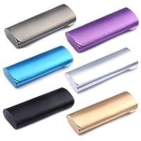 Cadtealir 硬殼鋁燈近視眼鏡盒盒電鍍彩色眼鏡盒(啞光銀色)