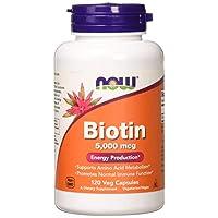 Now Foods 生物素(维生素H) Biotin 5000 mcg 120粒素食胶囊 促进皮肤及毛发健康