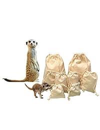 """优质双拉绳可重复使用不同尺寸的平纹细布袋,可作为礼品、生产和储存 - AUSTRALIAN 品牌 - * 有机棉 3"""" x 4"""" - pack of 100 bags 7.00"""