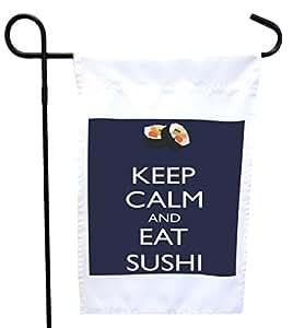 Rikki Knight Keep Calm and Eat Sushi 蓝色房子或花园旗帜带 27.94 x 27.94 cm 图像,30.48 x 45.72 cm