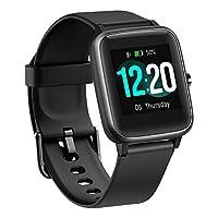 BUDAOLIU *版智能手表,适用于 Android 和 iOS 手机,健身追踪器带心率监测计步器*追踪器,防水智能手表兼容 iPhone 三星 black-Promotional