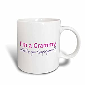 3dRose mug_193726_2 Im a Grammy Whats Your Superpower Pink Funny Gift for Grandma Ceramic Mug, 15-Ounce