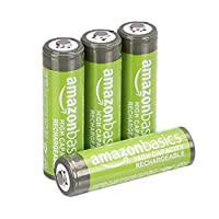 AmazonBasics AA High-Capacity Rechargeable Batteries (4-Pack) Pre-charged