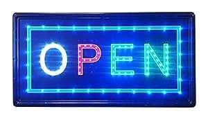 建筑开放标牌,带 25.4 x 48.26 厘米动画运动 LED 霓虹灯,带开/关和双向开关和链 (LED-OPS05)