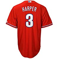 Bryce Harper 费城费城人队 3 号红色青年酷炫基础备用球衣