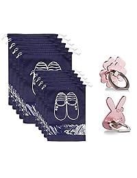 10 件旅行鞋袋储物袋适用于旅行健身房行李收纳袋防水无纺布收纳带 - 5 个大号 + 5 个中号 + 2 个手指环支架