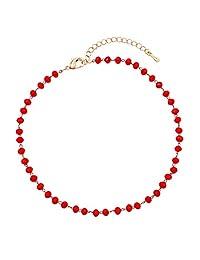 Rosemarie Collections 女式 3 毫米玻璃水晶珠链脚踝手链脚链,22.86 厘米-27.94 厘米,带 5.08 厘米延长链 罂粟红(Poppy Red)