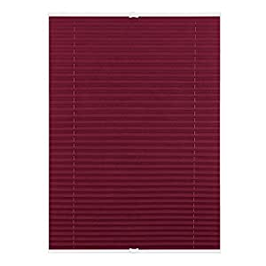 Klemmfix Pleated Blind without Drilling with Clip, Polyester, blackberry, 120 cm x 130 cm (B x L)