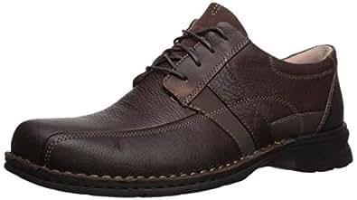 Clarks 男士 Espace 系带鞋 棕色油性皮革 7 M US