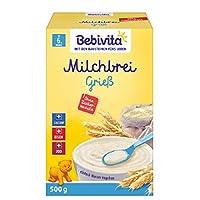 Bebivita 貝唯他 牛奶麥片粥 輔食米糊 不含添加糖 大包裝 粗糧粉 粗粒小麥粉牛奶麥片粥 4件裝(4 x 500 g)