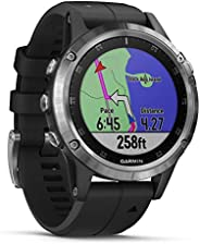 Garmin Fenix 5 Plus Multisport Watch with Music, Maps and Garmin Pay, Silver with Black Band